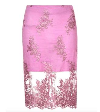 True Decadence Lace Organza Pencil Skirt