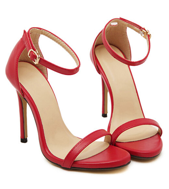 Red Stiletto High Heel Sandals