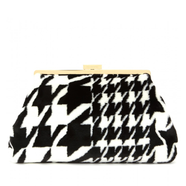 STELLA MCCARTNEY Houndstooth jacquard clutch