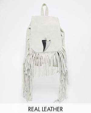 River Island Suede Fringed Mini Backpack
