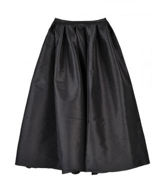 Black Silky Midi Skater Skirt