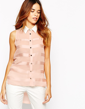 Michelle Keegan Loves Lipsy Stripe Shirt With Contrast Collar