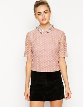 ASOS Top In Lace with Embellished Collar