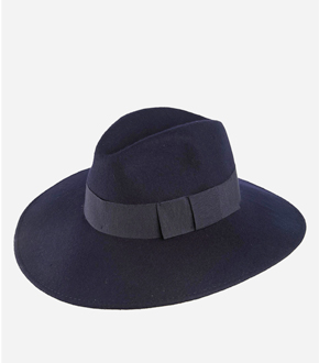 Catarzi Wide Brim Fedora Hat in Marine