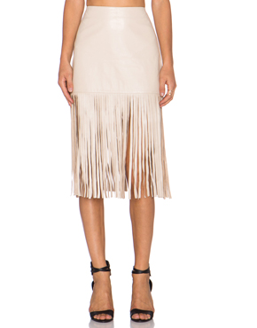 KARINA GRIMALDI leather fringed skirt