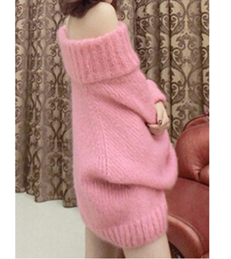 Pink Off Shoulder Long Sleeve Jumper