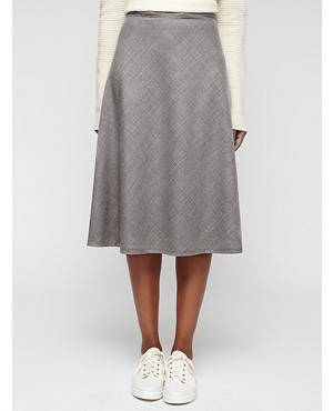 Jigsaw Wool Flannel Midi Skirt