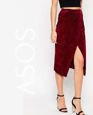 ASOS Wrap Pencil Skirt in Suede