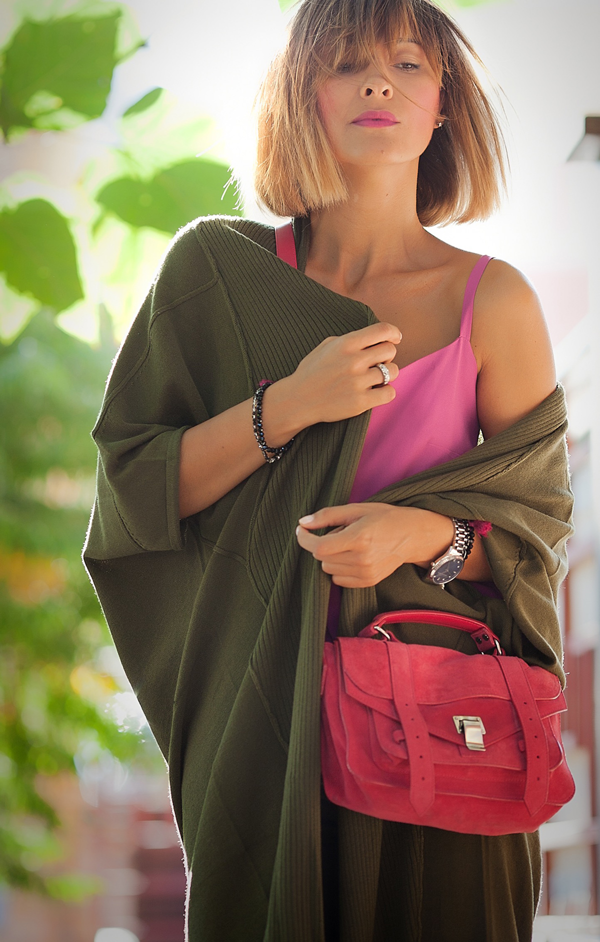 khaki+knit+cardigan-and-proenza+schouler+shoulder+bag