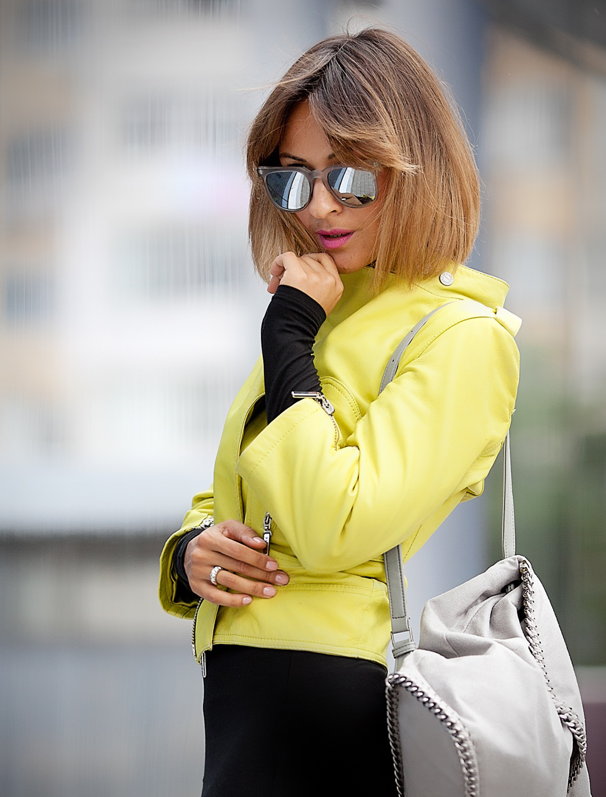 lime-biker-jacket-komono-riviera-sunglasses