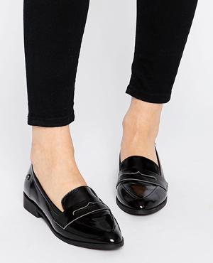 Blink Black Flat Loafer Shoes