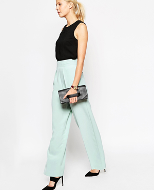 ASOS Wide Leg Trouser With Front Pleat