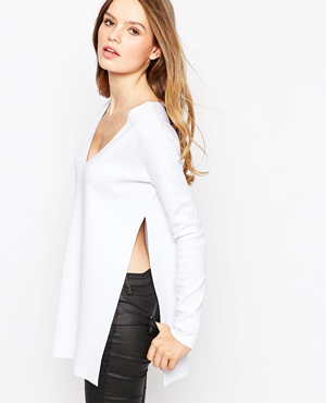 ASOS Top in Structured Knit with Side Splits