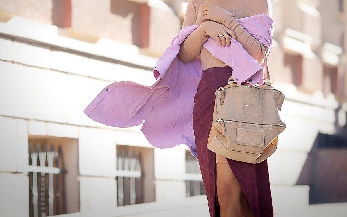 suede+shirt-suede+wrap+skirt-givenchy+pandora+bag+outfit