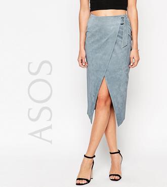 ASOS Wrap Skirt in Suede