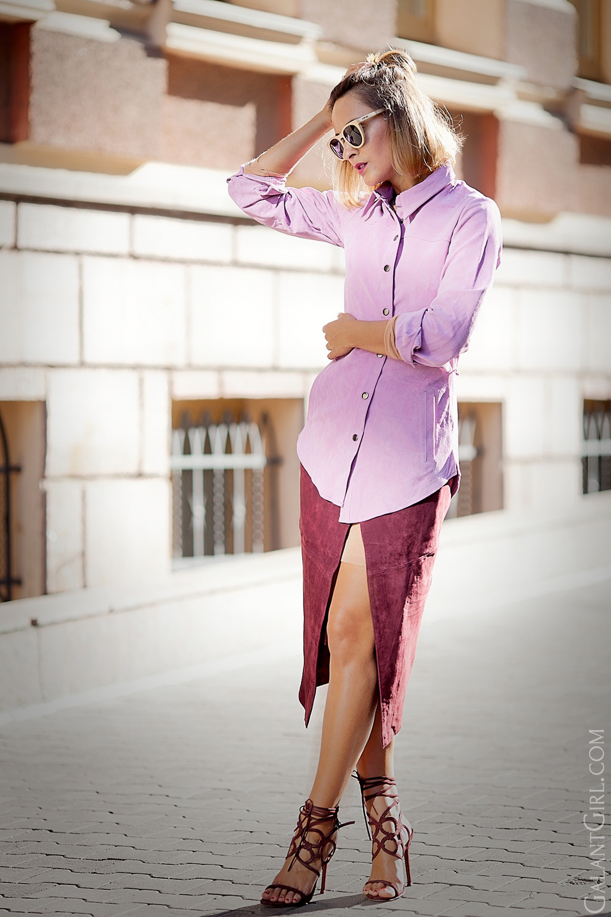 suede+wrap+skirt-suede+shirt+outfit-fashion+blog-galant+girl