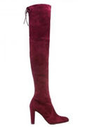 Wine Red Stretch Suede Boots