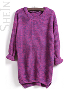 Purple Sweater Sheinside