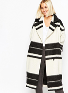 ASOS WHITE Overcoat in Stripe