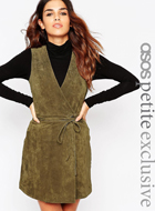 ASOS PETITE Wrap Front Dress in Suede