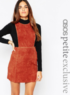 ASOS PETITE Pinafore Dress in Suede
