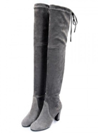 Gray Stretch Suede Over the Knee Boots