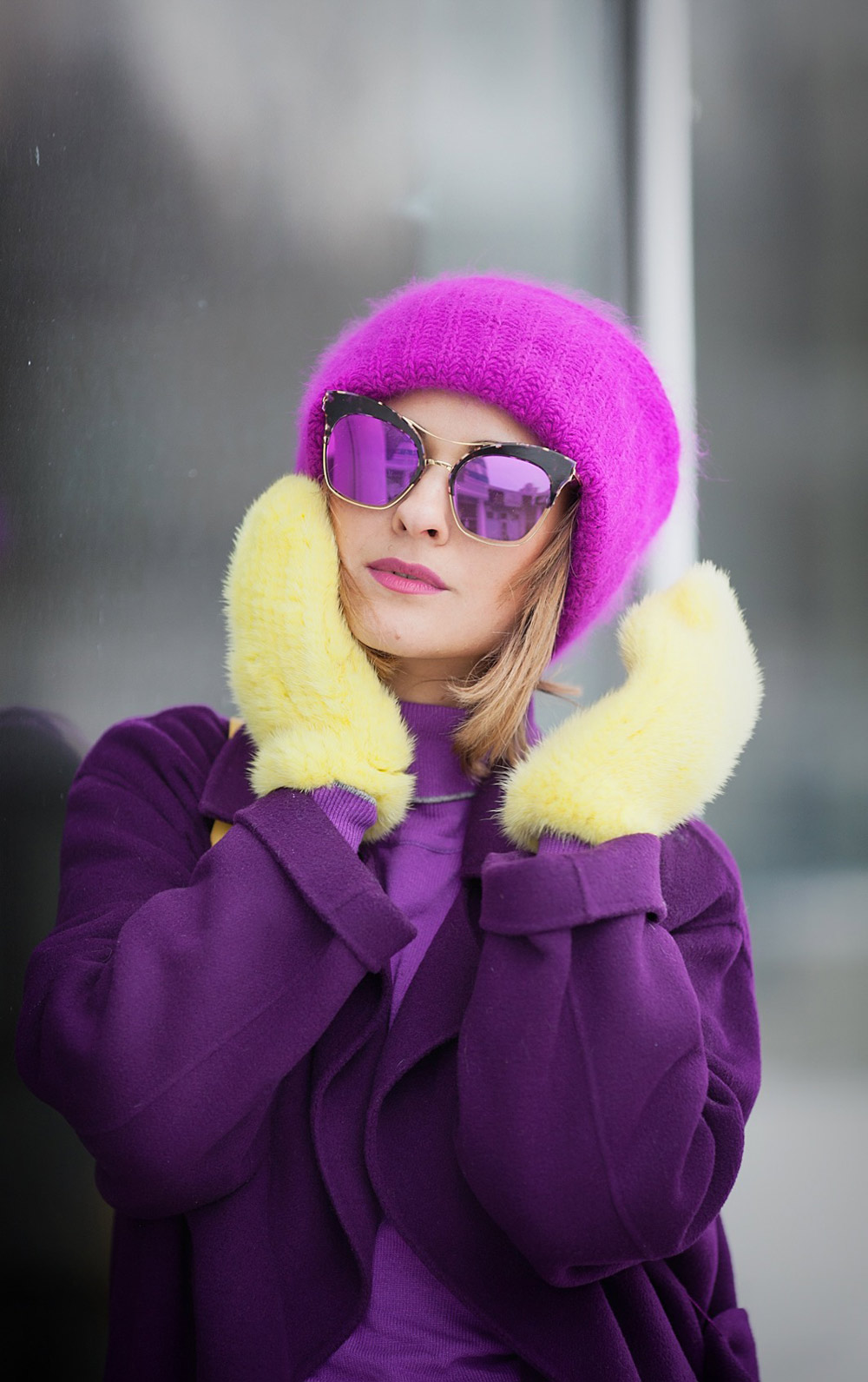 yellow fur gloves and gentle monster sunglasses by fashion blogger galant girl