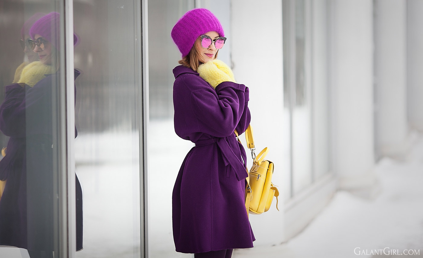 purple max mara robe coat, flare trousers and grafea backpack outfit for winter by fashion blogger galant girl