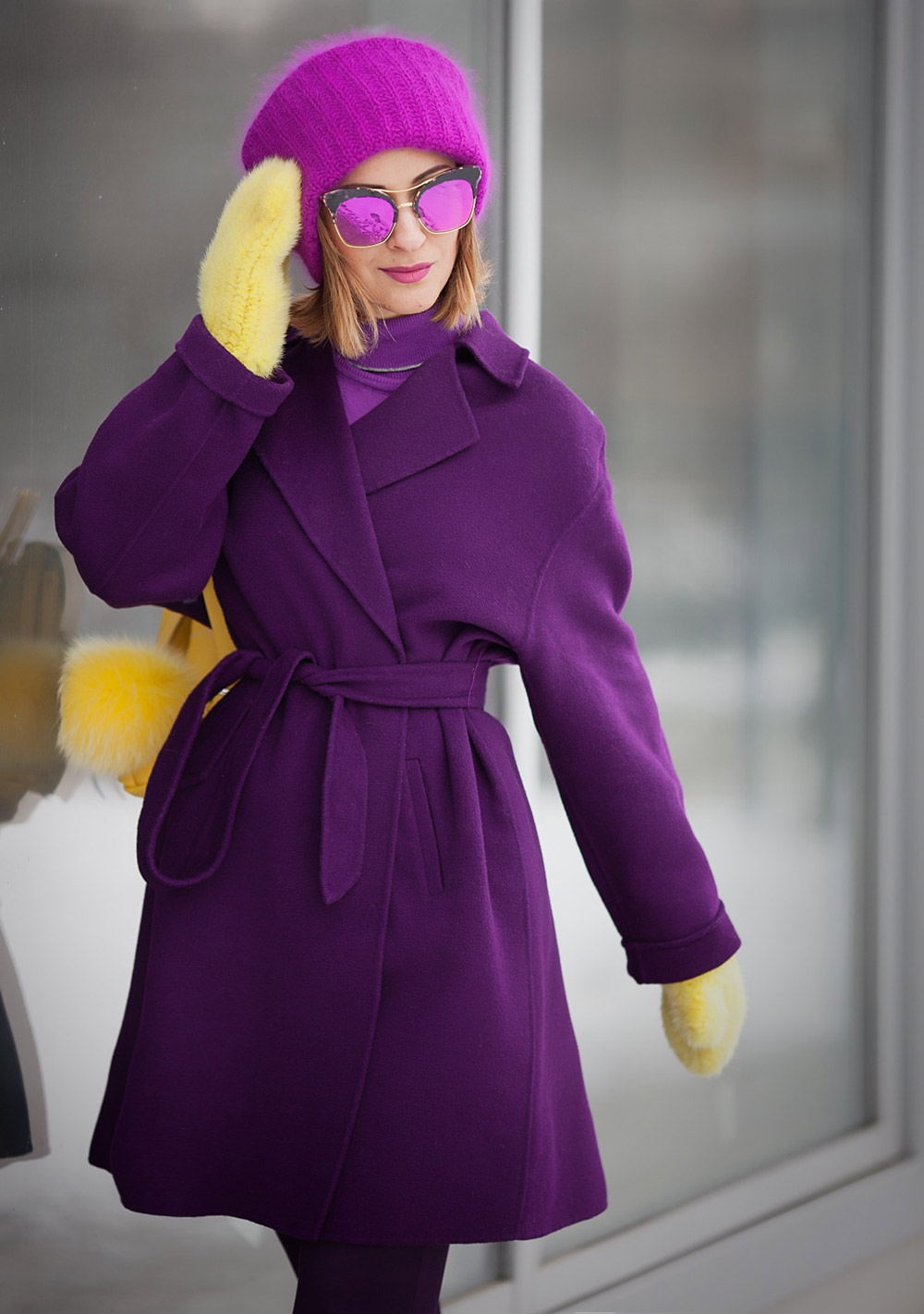 max mara purple wool coat, gentle monster sunglasses,