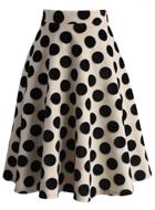 Polka Dots Velvet A-line Midi Skirt