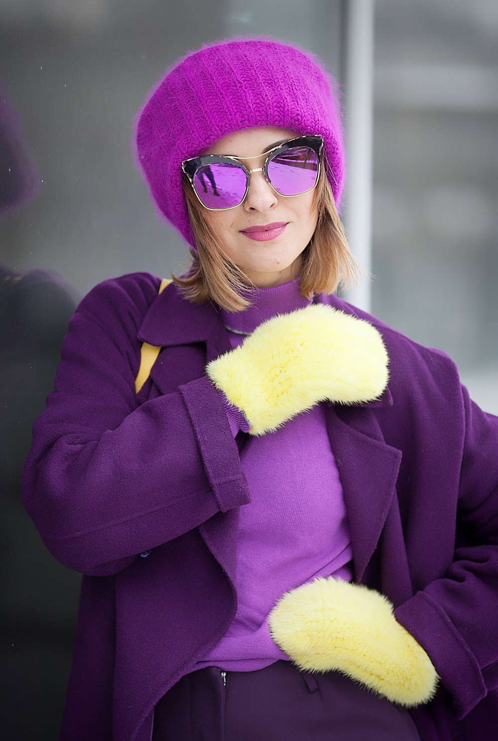knit fur gloves and Gentle Monster sunglasses