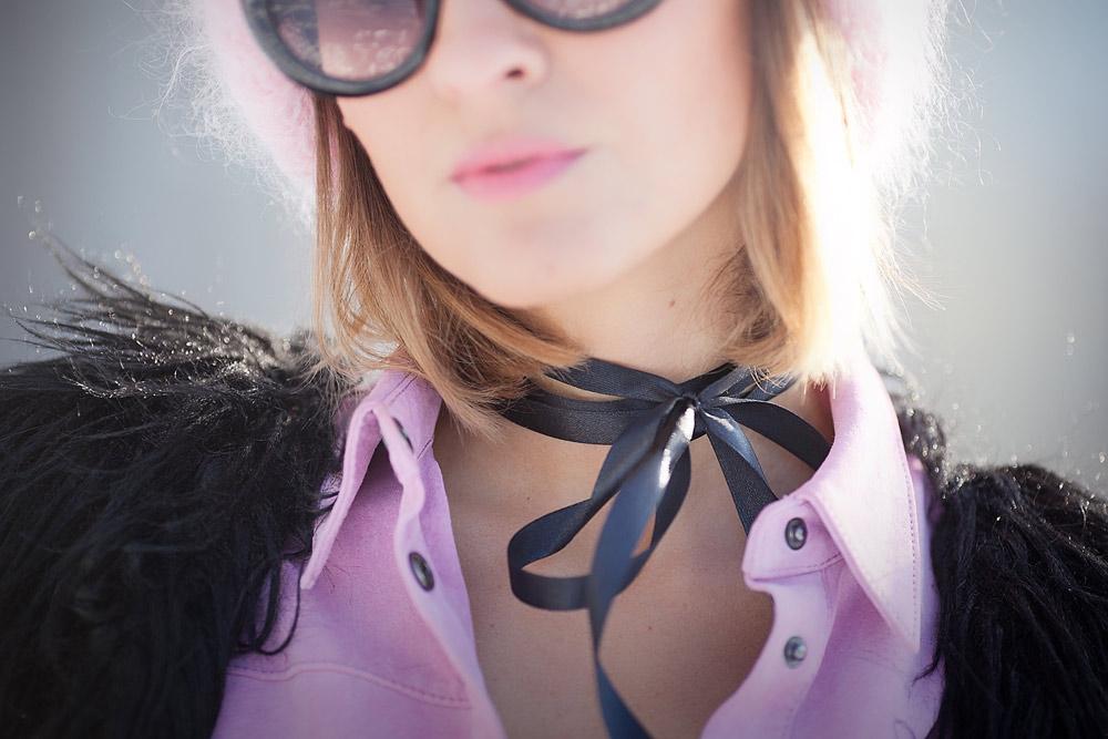 silk bow as a necklace