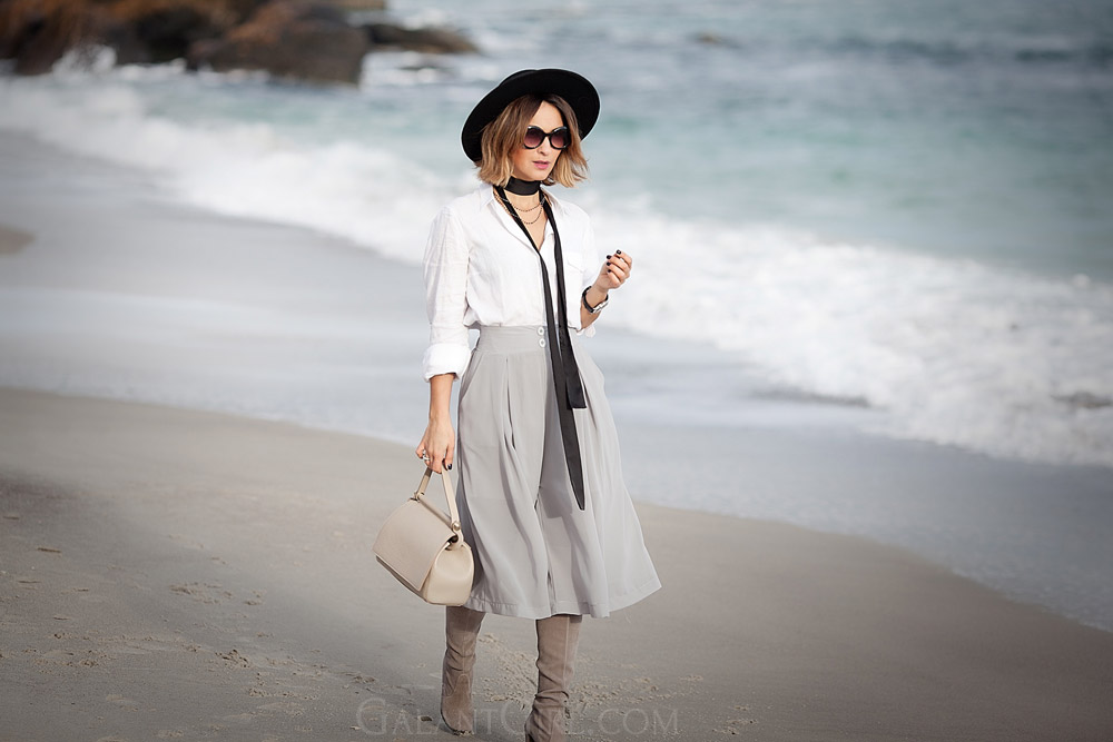 skinny-scarf-and-culottes-outfit