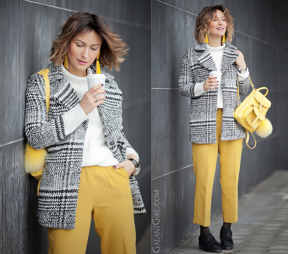 Choies plaid coat, Zara  yellow pants and Grafea mini backpack for winter outfits by fashion blogger Galant Girl