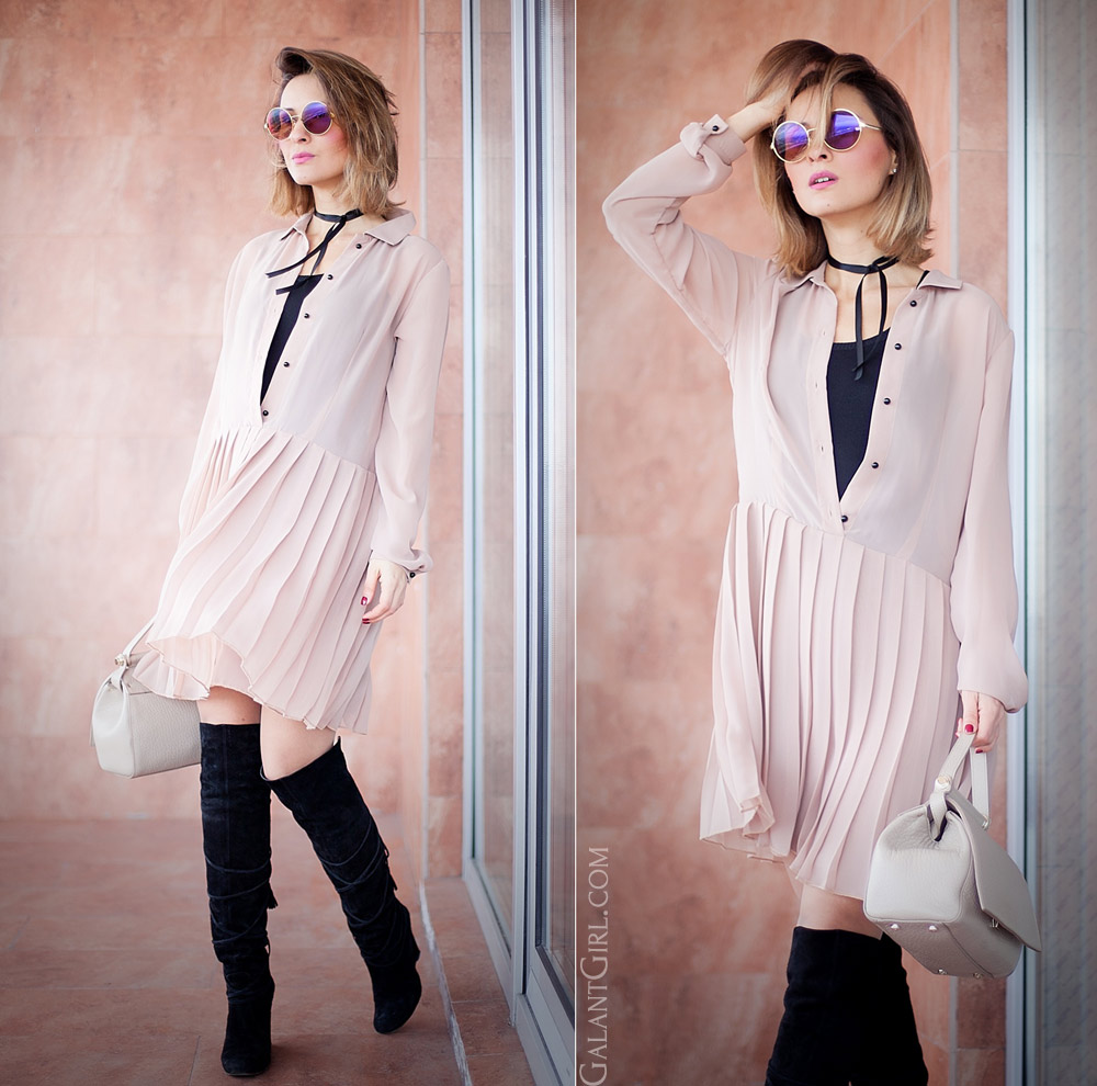 nude dress for chic style outfit for spring by fashion blogger Ellena Galant