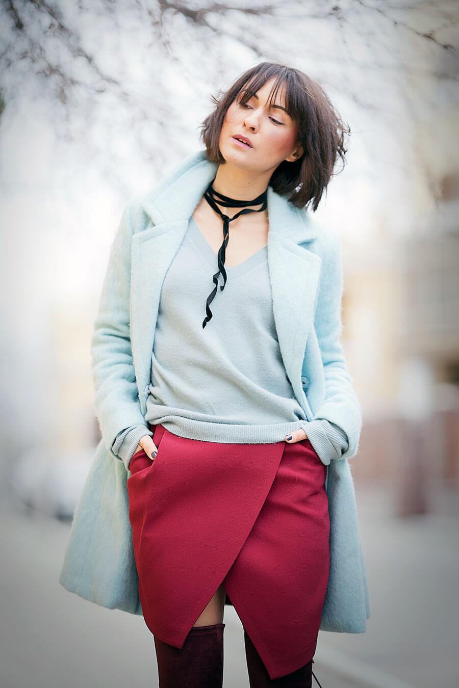 light+blue+coat-marsala+skirt-spring+outfits