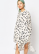 Zacro Maxi Shirt Dress in Paint Spot