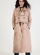 Apricot Lapel Detachable Trench Coat