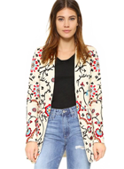 alice + olivia Embroidered Long Blazer