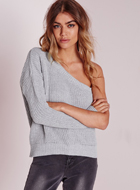 MissGuided one shoulder jumper grey