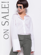 White Flare Sleeve shirt with Cuff Slit
