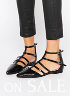 ASOS LOOKOUT Caged Pointed Ballet Flats