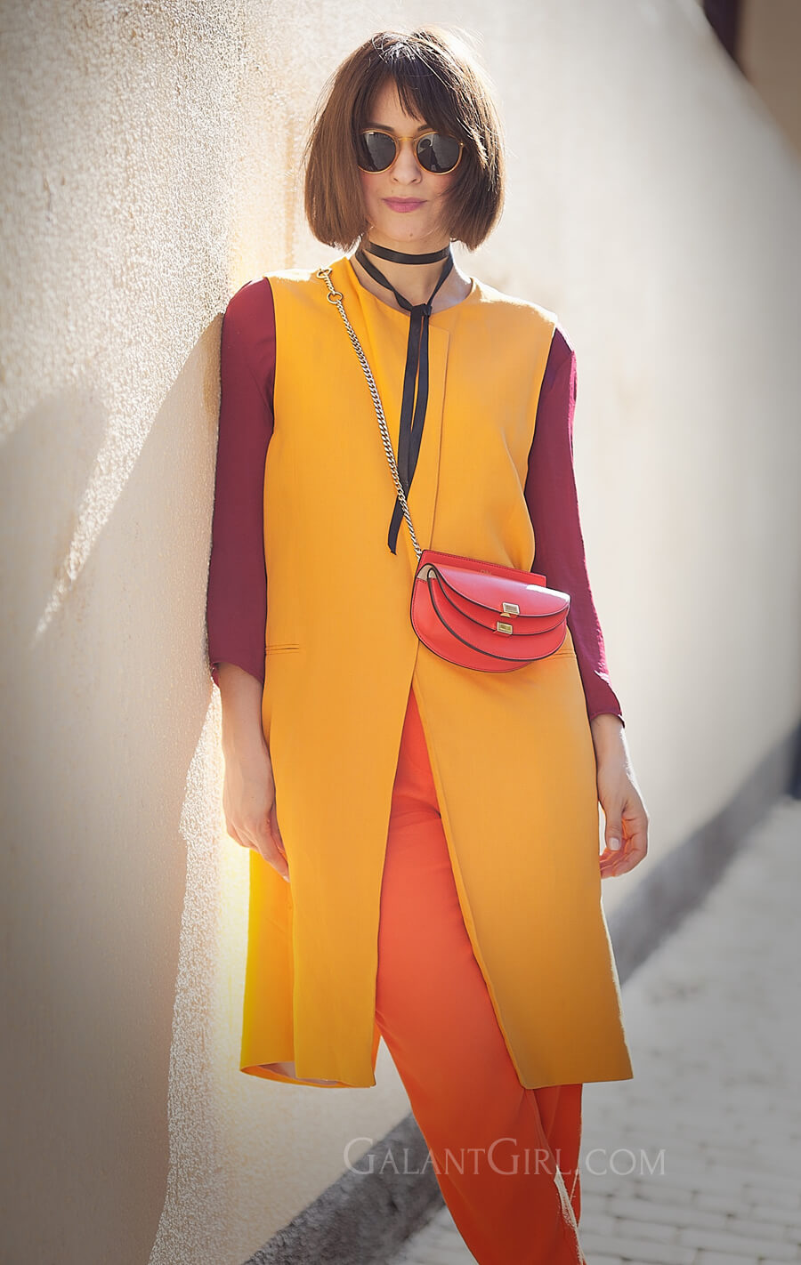 warm-colours-outfits for spring with chloe georgia bag and zara longline orange linen waistcoat