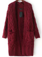 Red Long Sleeve Cable Knit Cardigan