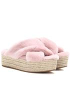 MIU MIU Fur Platform Sandals