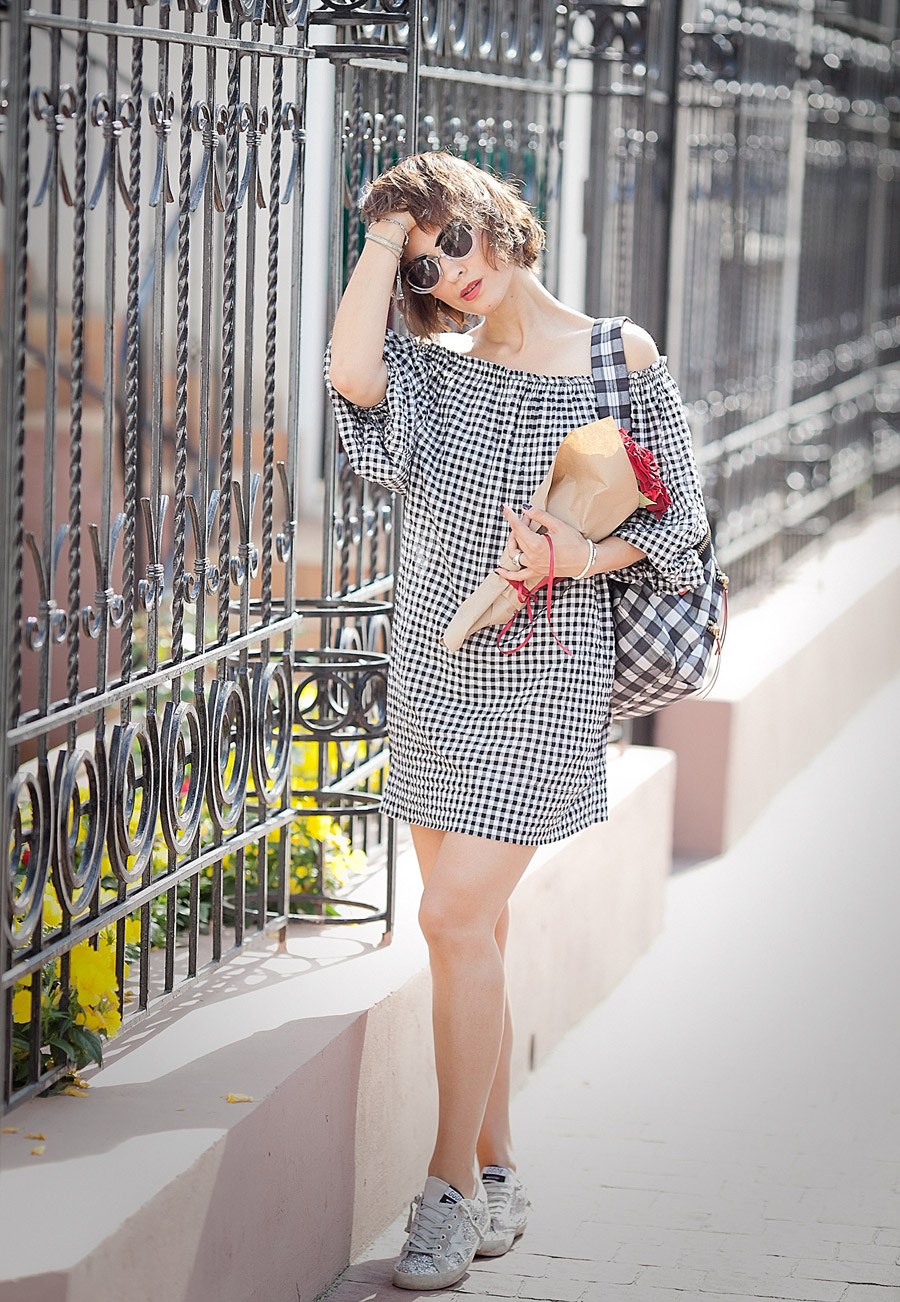 gingham-off-the-shoulder-dress-for-summer-2016