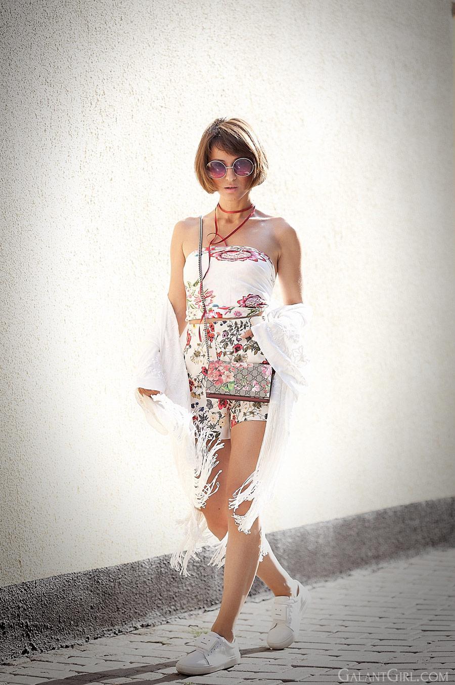 floral romper, fringed kimono, gucci floral bag,