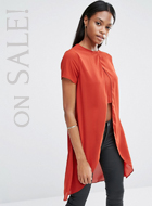 Missguided Crepe Split Front T-Shirt