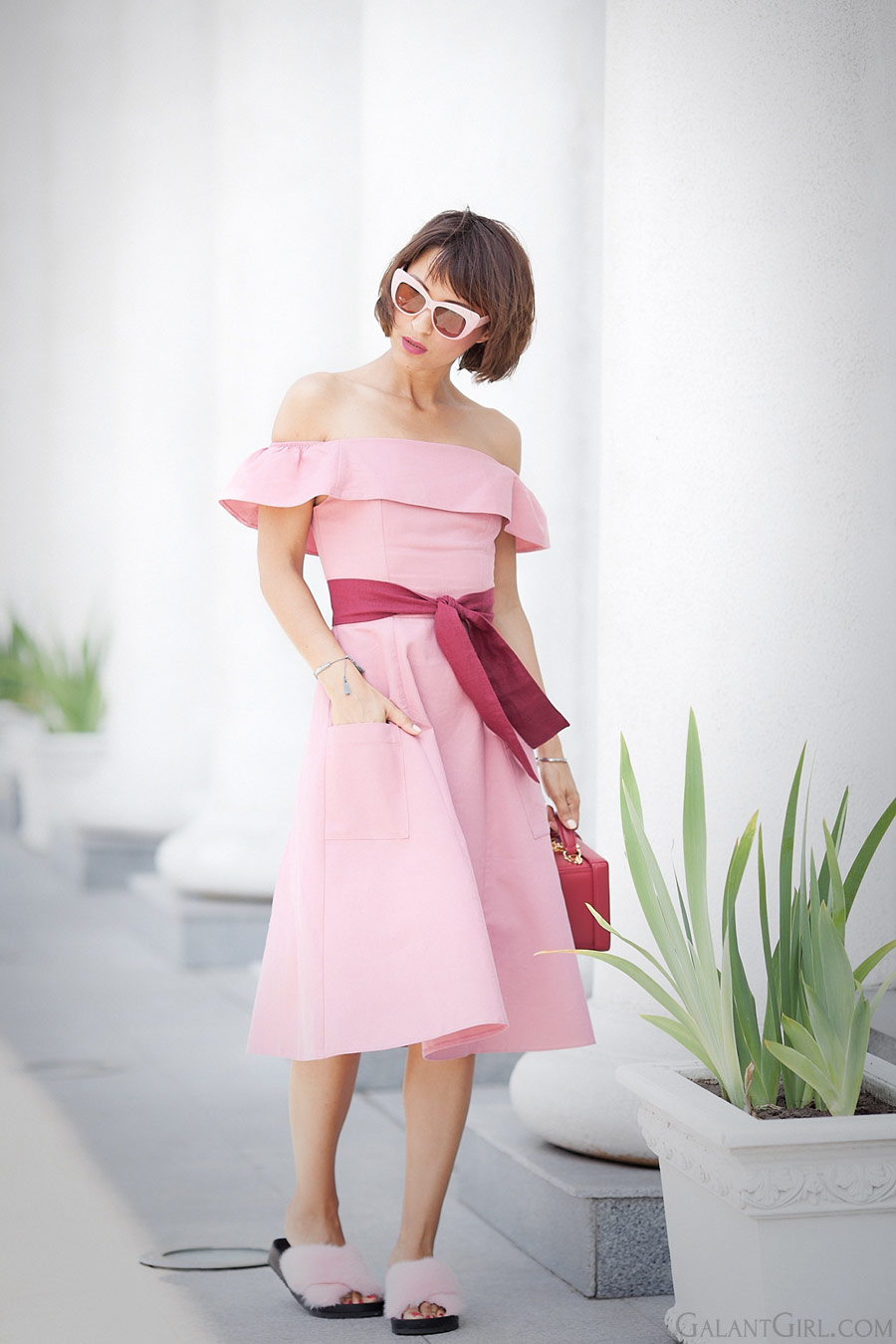 off-the-shoulder-dress-in-pink