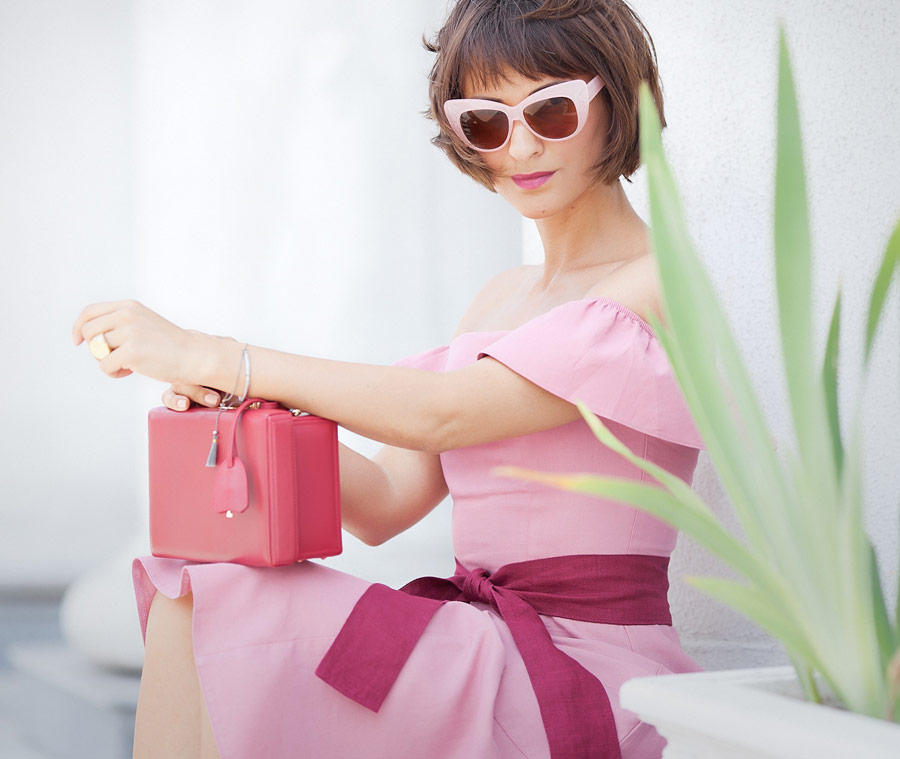 pink off the shoulder dress, mark cross red box bag, retro summer outfits,